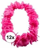 12x bloemenkrans ketting roze carnavalskleding