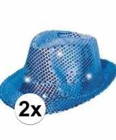 2x blauwe glitter hoedjes met led licht carnavalskleding