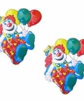 2x stuks carnaval decoratie schild clown ballonnen 50 x 45 cm carnavalskleding