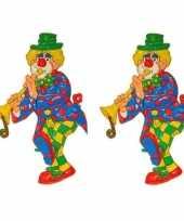2x stuks wanddecoratie carnaval clown 70 cm carnavalskleding