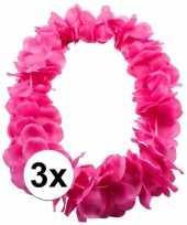 3x bloemenkrans ketting roze carnavalskleding