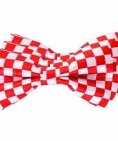 3x carnaval feest vlinderstrik vlinderdas rood wit geblokt 12 cm verkleedaccessoire voor volwassenen carnavalskleding