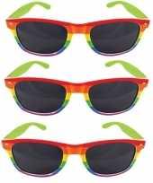 3x carnavalaccessoires bril regenboogkleuren carnavalskleding
