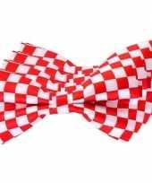 4x carnaval feest vlinderstrik vlinderdas rood wit geblokt 12 cm verkleedaccessoire voor volwassenen carnavalskleding