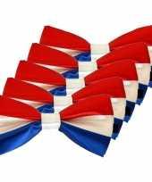 5x carnaval feest vlinderstrik vlinderdas rood wit blauw 12 cm verkleedaccessoire voor volwassenen carnavalskleding