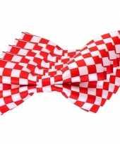 5x carnaval feest vlinderstrik vlinderdas rood wit geblokt 12 cm verkleedaccessoire voor volwassenen carnavalskleding