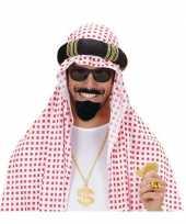 Arabische baard met snor zwart carnavalskleding