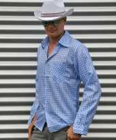 Blauw geruit cowboy overhemd voor heren carnavalskleding