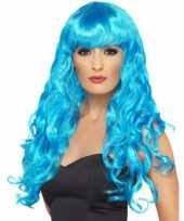 Blauwe feestpruik voor dames carnavalskleding