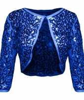 Blauwe glitter pailletten disco bolero jasje dames carnavalskleding