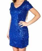 Blauwe glitter pailletten disco jurkje dames carnavalskleding