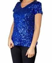 Blauwe glitter pailletten disco shirt dames carnavalskleding