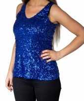 Blauwe glitter pailletten disco topje mouwloos shirt dames carnavalskleding
