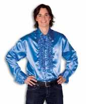 Blouse blauw met rouches heren carnavalskleding