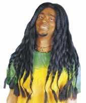 Bob marley pruik met zwarte dreads carnavalskleding