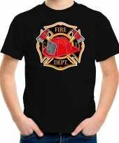 Brandweer logo t shirt kleding zwart voor kinderen carnavalskleding