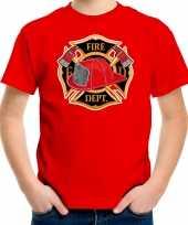 Brandweer logo t shirt verkleedkleding rood voor kinderen carnavalskleding