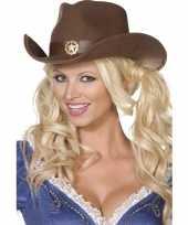 Bruine cowboy hoed voor volwassenen carnavalskleding