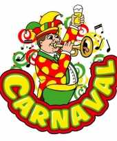 Carnaval deco bord muzikant met trompet van plastic 35 x 40 cm carnavalskleding