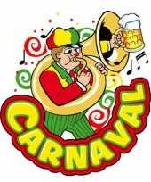 Carnaval deco bord muzikant van plastic 35 x 40 cm carnavalskleding