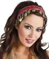 Carnaval esmeralda buikdanseres hoofdband rood voor dames carnavalskleding