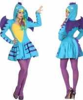 Carnaval feest blauwe draak verkleed outfit voor dames carnavalskleding