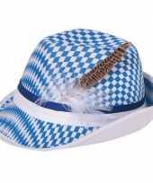 Carnaval tiroler beierse jagershoed gleufhoedje blauw wit ruitje voor dames heren volwassenen carnavalskleding 10028422