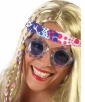 Carnavalaccessoires hippie bril blauw voor volwassenen carnavalskleding