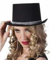 Carnavalshoed zwart met zilveren steentjes voor dames carnavalskleding