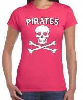 Carnavalskleding fout piraten shirt roze dames carnavalskleding