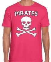 Carnavalskleding fout piraten shirt roze heren carnavalskleding