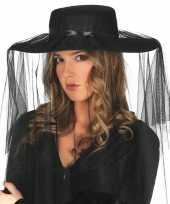 Dames hoeden met sluier zwart carnavalskleding