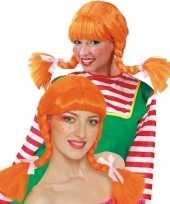 Dames pruik met oranje vlechten carnavalskleding