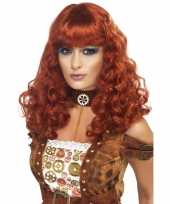 Dames pruik rood bruin carnavalskleding