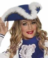 Dansmarieke hoedje blauw en wit carnavalskleding