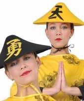 Gele chinese verkleedhoed voor volwassenen carnavalskleding