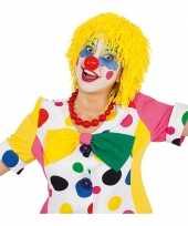 Gele clownspruik met touwtjes carnavalskleding