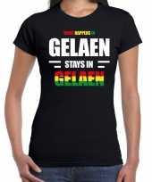 Geleen gelaen carnaval outfit t-shirt zwart dames carnavalskleding