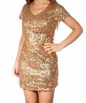 Gouden glitter pailletten disco jurkje dames carnavalskleding