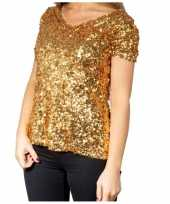 Gouden glitter pailletten disco shirt dames carnavalskleding