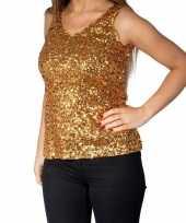 Gouden glitter pailletten disco topje mouwloos shirt dames carnavalskleding