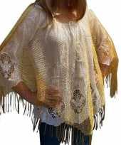 Gouden visnet poncho omslagdoek stola dames carnavalskleding