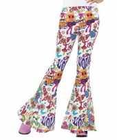 Groovy broek wit voor dames carnavalskleding