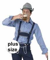Grote maat carnavalskleding blauw witte overhemd voor heren