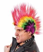 Hanekam pruiken felle kleuren carnavalskleding