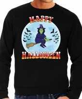 Happy halloween heks verkleed sweater zwart voor heren carnavalskleding