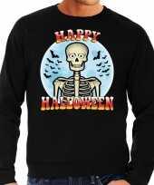 Happy halloween skelet verkleed sweater zwart voor heren carnavalskleding