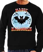 Happy halloween vleermuis verkleed sweater zwart voor heren carnavalskleding