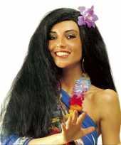 Hawaiiaanse pruik met bloem carnavalskleding