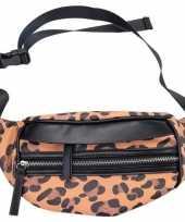 Hip heuptasje fanny pack schoudertasje zwart bruin luipaardprint panterprint dierenprint 30 cm carna